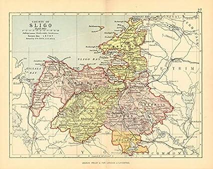 Sligo Map Of Ireland.Amazon Com County Sligo Antique County Map Connaught Ireland