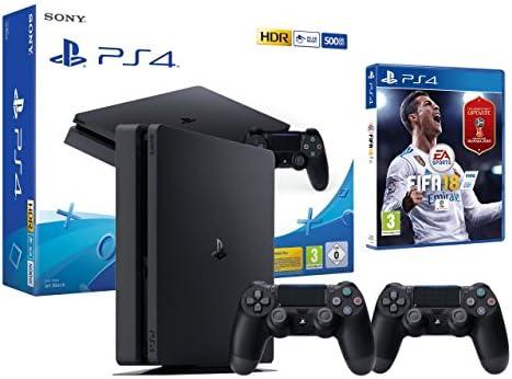 PS4 Slim 500Gb Negra Playstation 4 Consola - FIFA 18 + 2 Mandos Dualshock 4: Amazon.es: Videojuegos