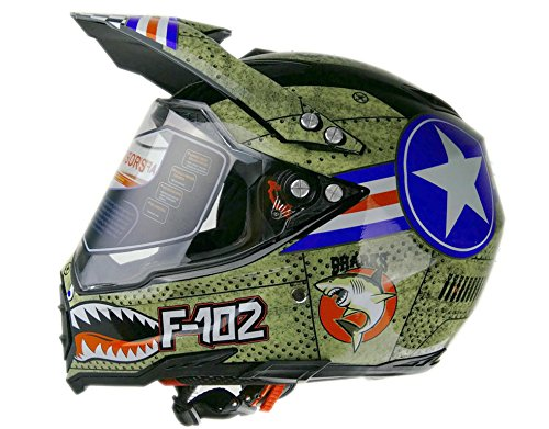 Woljay Dual Sport Off Road Motorcycle helmet Dirt Bike ATV D.O.T certified (L)