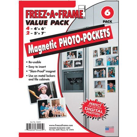 5 X Freez-A-Frame Magnetic Combo Pack with 4 - 4'' x 6'' & 2 - 5'' x 7'' Magnetic Photo Frames