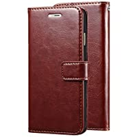Goelectro Redmi Note 7 / Note7 Leather Dairy Flip Case Stand with Magnetic Closure & Card Holder Cover (Brown)