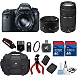 Canon EOS 6D 20.2 MP CMOS Digital SLR Camera + Canon EF 50mm f/1.8 II Lens +75-300 Zoom Lens + 64GB In Memory + Accessory Bundle - International Version