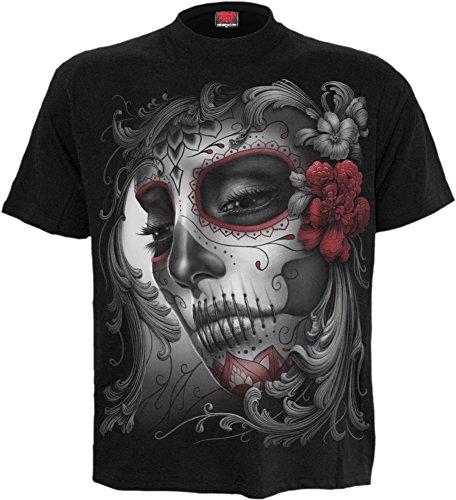 Spiral - Womens - Skull Roses - Front Print T-Shirt Black - L