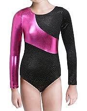 Kidsparadisy Mädchen Gymnastik-Turnanzug Tanzkleidung Lange Ärmel Regenbogen Streifen zum 2-15 Jahre (Hotpink, 140(7-8T))