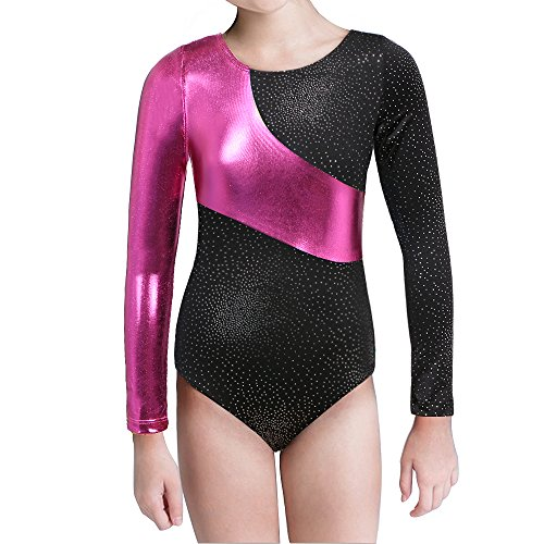 Girl's Metallic Sparkling Long Sleeves Athletics Leotard Gymnastics Tight Suit (140(7-8Y), Black)