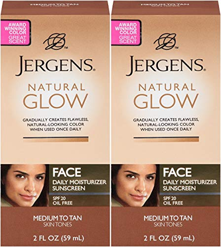 Jergens Natural Glow Healthy Complexion Daily Facial Moisturizer for Medium to Tan SPF, 2 Ounce - 2 Pack ()
