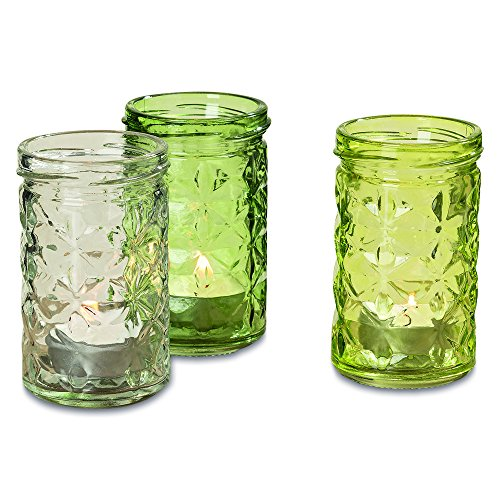 The Farmer's Market Fancy Mason Jar Candle Holders, Set of 3, Vintage Rustic Style Hurricane Lanterns, Pressed Glass, Shades of Green, 2 1/2 D x 4 T Inches, By Whole House Worlds (Glass Bud Pressed Vase)