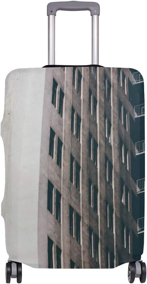 Elastic Fits 26-28 Inch Travel Luggage Cover Buildings Window Multistory Suitcase Protector Zip