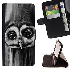 Jordan Colourful Shop - owl night big eyes bird forest black white For Samsung Galaxy S6 - < Leather Case Absorci????n cubierta de la caja de alto impacto > -