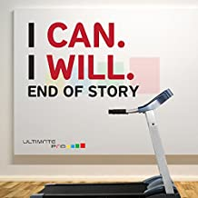 I CAN I WILL END OF STORY B Black - Red Home and Gym Motivate Wall Decal