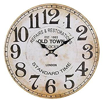 Clayre Eef Wanduhr Old Town Beige 34 Cm Vintage Shabby Kuchenuhr