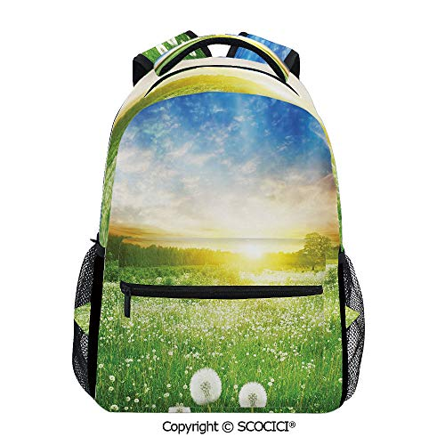 - SCOCICI All Over Printed Backpack Dandelion Flower Field Meadow,with Mesh Bag