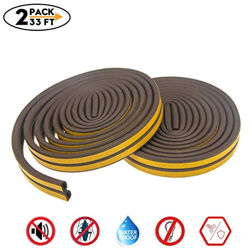 Weather Stripping for Door,Insulation Weatherproof Doors and Windows Soundproofing Seal Strip,Collision Avoidance Rubber Self-Adhesive Weatherstrip,2 Pack,Total 33Feet Long (Brown) (Brown Window Frames)