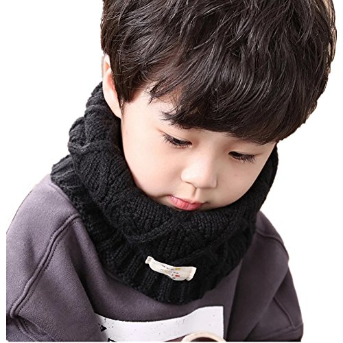 Fashion Kids Baby Infant Boys Girls Collar Knit Soft Infinity Scarf Neck Scarves (Black)