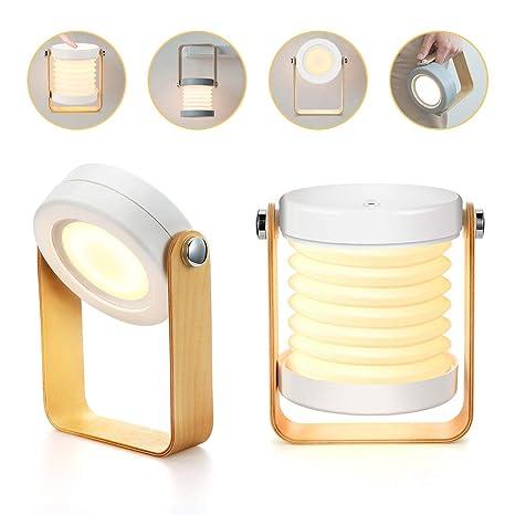 Bromose - Lámpara de mesilla de noche regulable táctil, luz nocturna para bebé, portátil, mini lamparas de mesa, 3 modos, de luz Recargable Uso ...