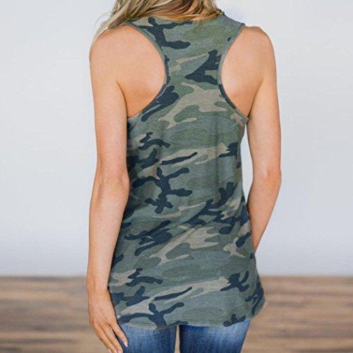 Manche Gilet Col Shirt Camouflage sans T Femme Sexyville Dbardeur Impression Rond Mode Vest Vert Sexy pnRxBwgzq