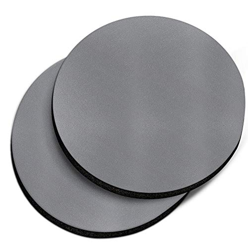 (CARIBOU Coasters, Solid Matte Gray Design Absorbent ROUND Fabric Felt Neoprene Car Coasters for Drinks, 2pcs Set)
