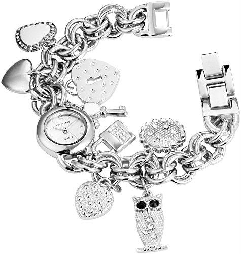 Bettelarmband Damenuhr Silber Analog Metall Strass Anhänger Eule Herz Schlüssel Armbanduhr Quarz Uhr