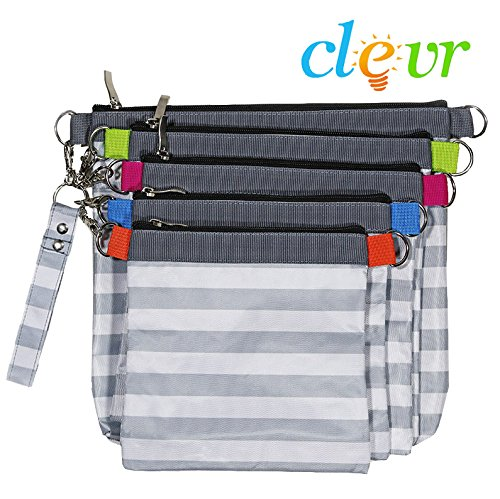Clevr Diaper Bag Organizer Pouches, 4 Mesh and 1 Wet Bag, Set of 5 Versatile Files Organizer Insert Bags with Zipper ()