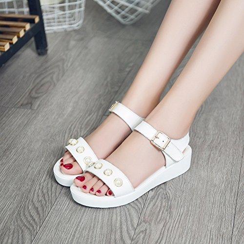 Tutte con Pelle Comode Scarpe Nero Sandali Traspirante Abbinabili Sandali Perline Scarpe in Moda YTTY wzC1qU1