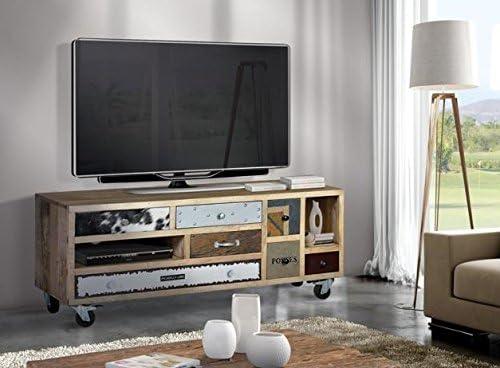 Hogar Decora Mesa TV Madera de Mango con Ruedas 60X130X40 cm ...