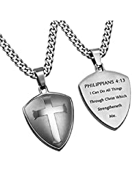 Christ My Strength (Phil 4:13) Silver Cross Shield Pendant Necklace in Gift Bag 3 Chains To Choose (24)