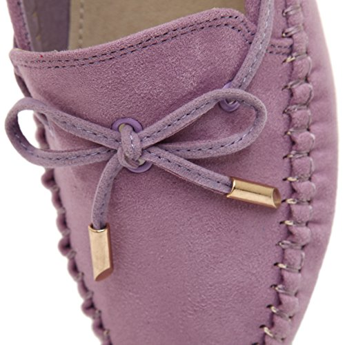 Loafers Lady Shoes Suede Moccasins Boat Purple Sequined Flat Bowknot Smilun 1STH8wHq