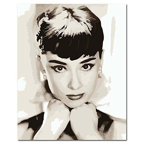 Mesno DIY Oil Painting ?Paint by Number Kit for Adults Kids-Audrey Hepburn 16x20 inch [Framless]