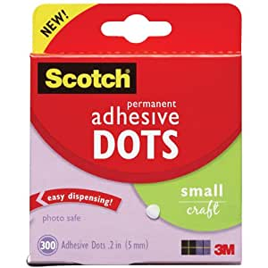 Scotch 010-300S 300/Pack Adhesive Dots, Small