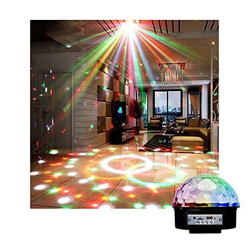 LED Disco Ball Party Lights, Bluetooth Sound Activated Magic Music Player, RGB Colors Changing Crystal Strobe Lights, Auto Acoustic Swing with Remote Control for DJ Club Karaoke Bar Home-1PK