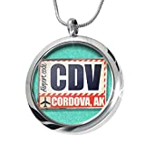 NEONBLOND Airportcode CDV Cordova, AK Aromatherapy Essential Oil Diffuser Necklace Locket Pendant Jewelry Set