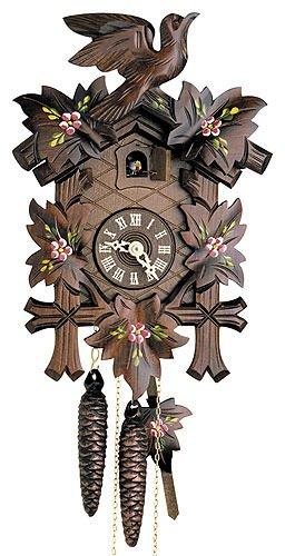 Alemán Reloj de cuco - mecanismo con cuerda para 1 día - tallado en madera - 23 cm - Auténtico reloj de cuco del bosque negro - de Hekas: Amazon.es: Hogar