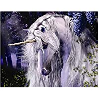 DIY 16×20 inch Kit Acrylic Adults Beginner Moonlight Unicorn Paint by Numbers