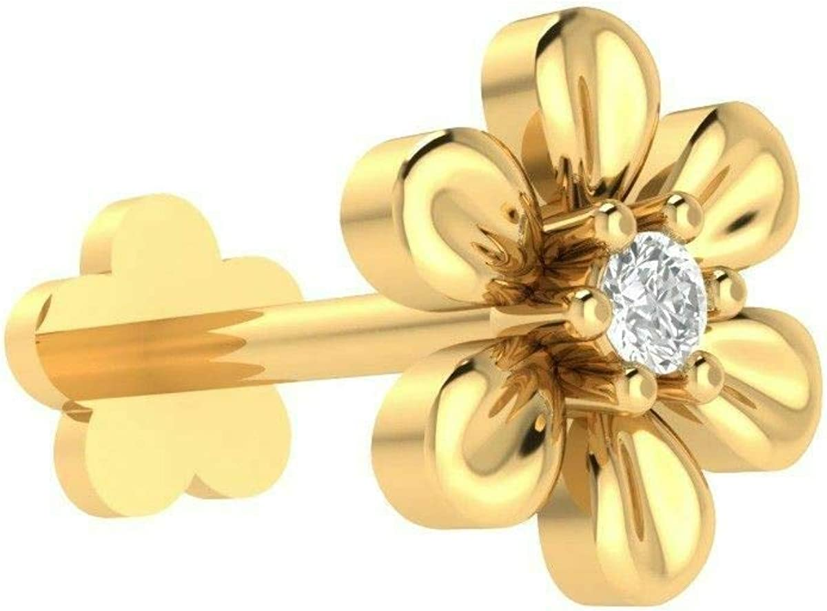 Amazon Com Solid 10k Yellow Gold Certified Diamond Flower Nose