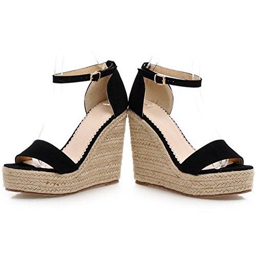 Verano Zapatos Mujer Cool Cuna De Negro Al Sandalias Coolcept Tobillo Comodo Tacon BxEqn5xwFd