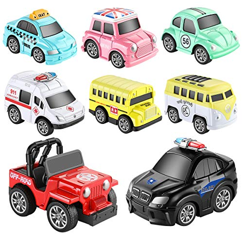 (GEYIIE Pull Back Cars,8 Pack Mini Cars Set Alloy Micro Machines,Pull Back Vehicles Toy Cars for Toddlers Kids Boys Girls Gift)