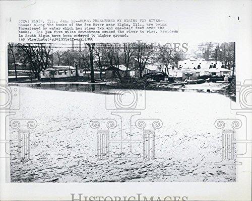 1966 Press Photo Houses Banks Fox River Elgin Illinois Water Flooding Flood