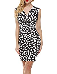 Meaneor Women's Sleeveless V Neck Crossover Ruched Waist Slimming Bodycon Dress