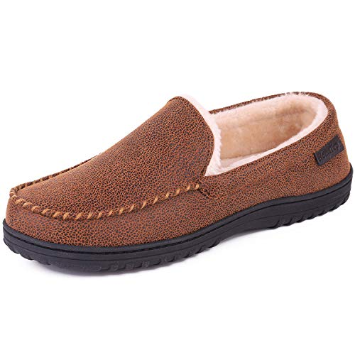 Men's Wool Micro Suede Moccasin Slippers House Shoes Indoor/Outdoor (46 (US Men's 13), Faux Leather - Classic Tan) ()