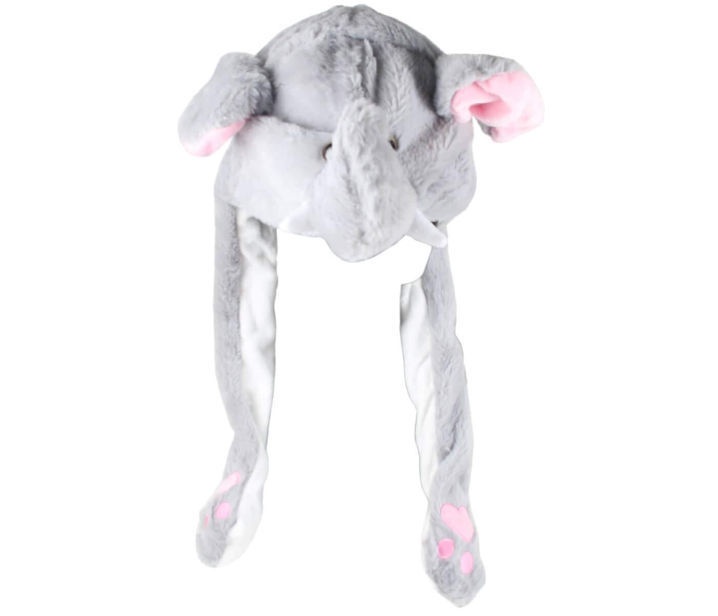 Divertente Cappello Cane Bianco Peluche Che muove Le Orecchie Cappuccio Taglia Unica per Bambini e Adulti Berretto Accessorio Invernale con Orecchi Mobili
