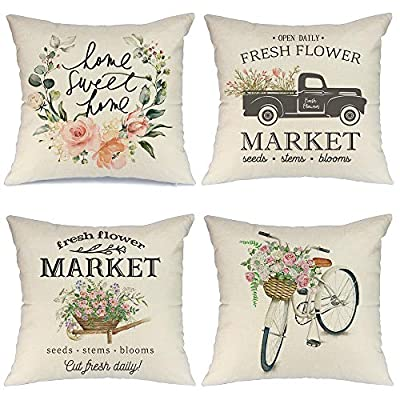 AENEY Spring Pillow Covers 18x18 for Couch Set of 4 Farmhouse Decorative Throw Pillows Home Decorations A223