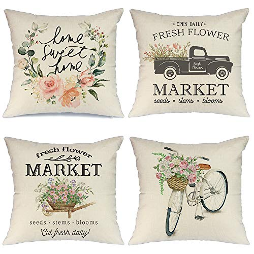 AENEY Spring Pillow Covers 18×18 for Couch Set of 4 Farmhouse Decorative Throw Pillows Home Decorations A223