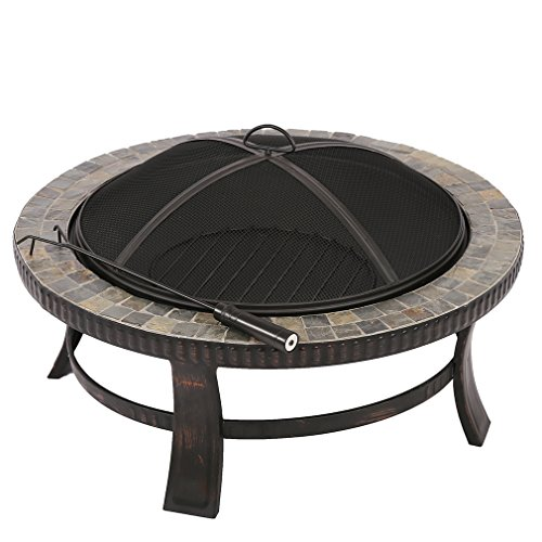 BestMassage Natural Stone Fire Pit with Copper Accents - 34Inch