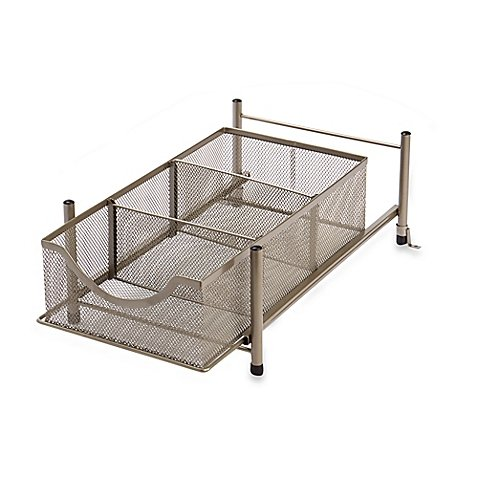 .ORG Medium Under the Sink Mesh Slide-Out Cabinet Drawer in Matte Nickel by .ORG