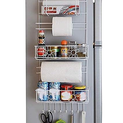 Ideal para la cocina / baño Metal Sidewall Ventosa Refrigerador Rack de almacenamiento Spice Rack y