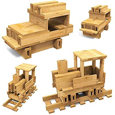 PandaBlocs 300 Pieces - Bamboo Construction Building Blocks Game 100% Natural and Sustainable - Designed to Improve Dexterity, Focus, and Creativity - The Educational Game for Children and Adults.: Toys & Games