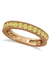 Fancy Yellow Canary Diamond Eternity Ring Band 14k Rose Gold (1.00ct)