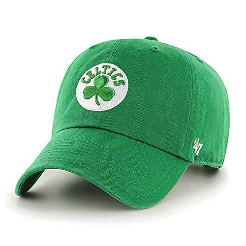 47 Brand Boston Celtics Clean Up NBA Dad Hat Cap Green/White ()