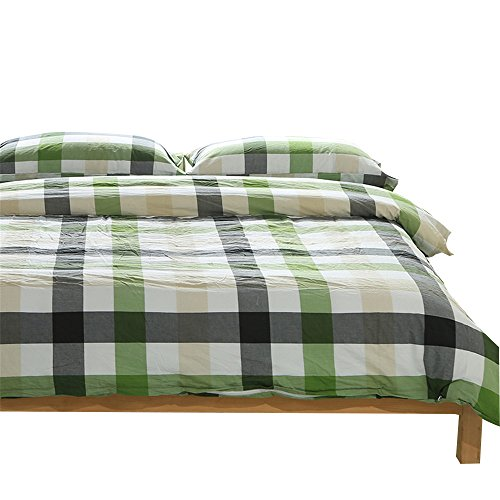 - OTOB Colorful Green White Checkered Plaid Bedding Set for Kids Adults 3 Piece Lightweight Grid Gingham Washed Cotton Duvet Cover Sets with Pillow Shams, Reversible, Hypoallergenic (Twin, Green)