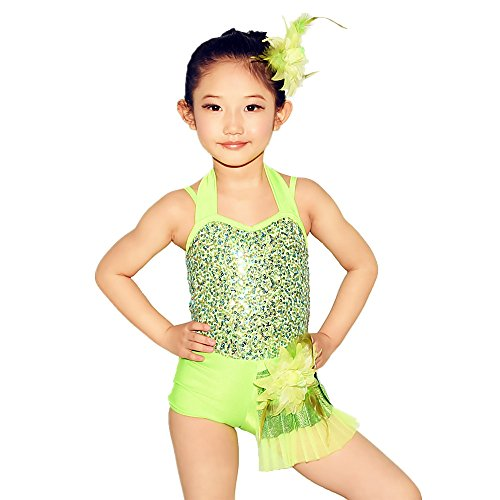 MiDee Halter Neck Sequin Bodice With Side Subtle Shorts Attached Jazz Dance Costumes Modern Dance Wear (IC, Apple ()